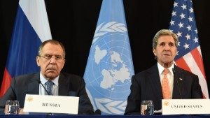 (L-R) Russian Foreign Minister Sergei Lavrov, US Secretary of States John Kerry and UN Special Envoy for Syria Staffan de Mistura follow a news conference after the International Syria Support Group (ISSG) meeting in Munich, southern Germany, on February 12, 2016. / AFP / Christof STACHE (Photo credit should read CHRISTOF STACHE/AFP/Getty Images)