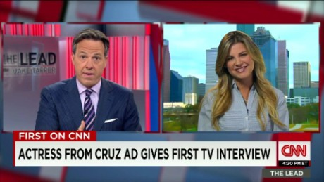First on CNN: Actress from Cruz ad gives first TV interview_00013316