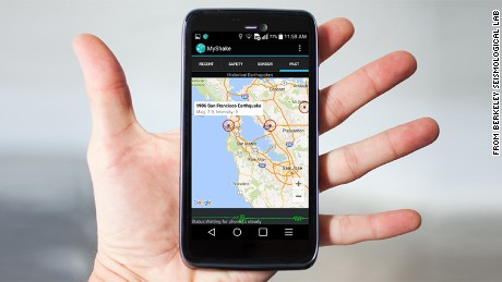 The MyShake app sends information about seismic activity to a server at the University of California.