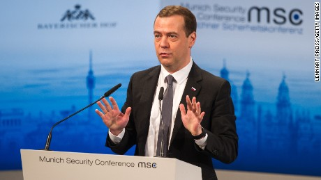 Russian Prime Minister Dmitry Medvedev speaks at the 2016 Munich Security Conference on Saturday.