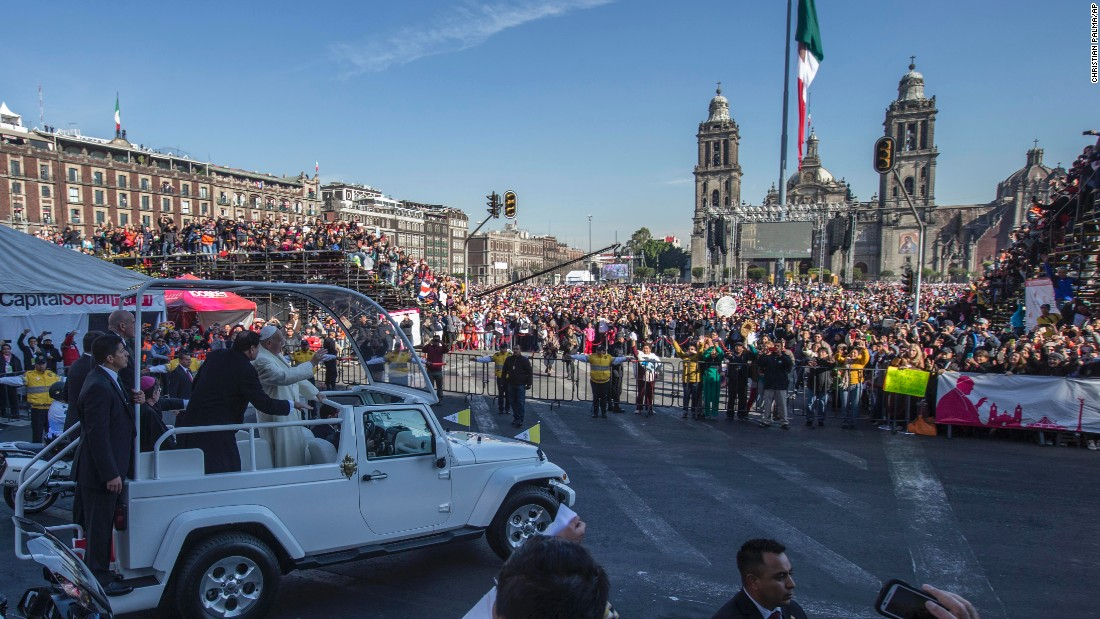 Pope Francis arrives in Mexico City's main square on February 13.
