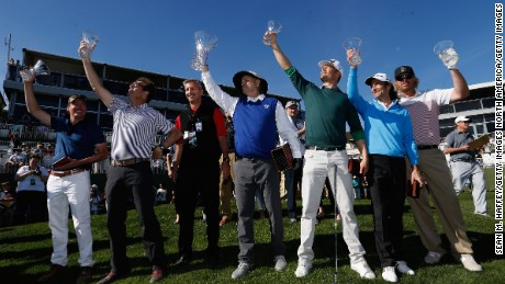 (L-R) Musician Clay Walker, Musician Huey Lewis, Comedian Bill Murray, Actor Josh Duhamel, Musician Kenny G, and Musician Toby Keith hold up trophies at the 18th hole during the 3M Celebrity Challenge prior to the AT&T Pebble Beach National Pro-Am at Pebble Beach Golf Links on February 10, 2016 in Pebble Beach, California.