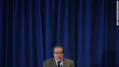 Justice Antonin Scalia gives an address Septemeber 15, 2014, in Washington, D.C.