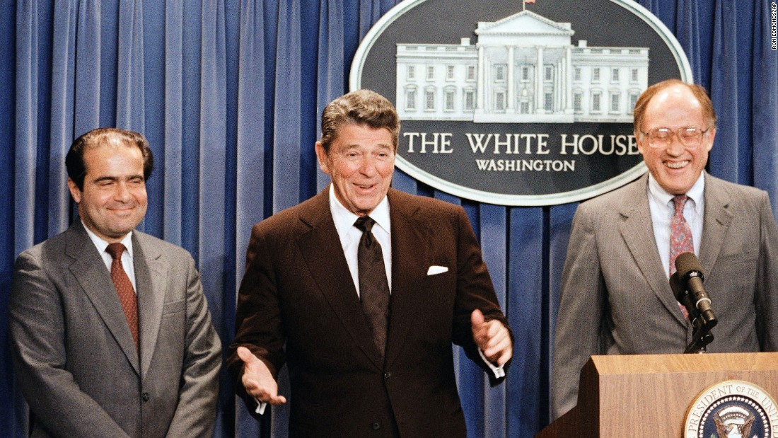 President Ronald Reagan announces the nominaton of Antonin Scaliao the Supreme Court on June 17, 1986, as a result of Chief Justice Warren E. Burger's resignation.