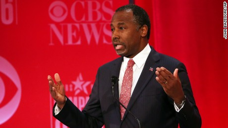 Republican presidential candidate, retired neurosurgeon Ben Carson speaks during the CBS News Republican presidential debate at the Peace Center, Saturday, Feb. 13, 2016, in Greenville, S.C. (AP Photo/John Bazemore)