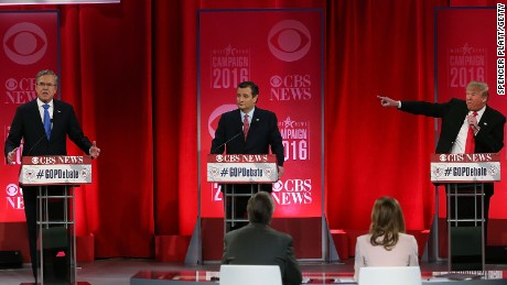Jeb Bush, Sen. Ted Cruz and Donald Trump participate in a CBS News GOP Debate on February 13, 2016, at the Peace Center in Greenville, South Carolina.