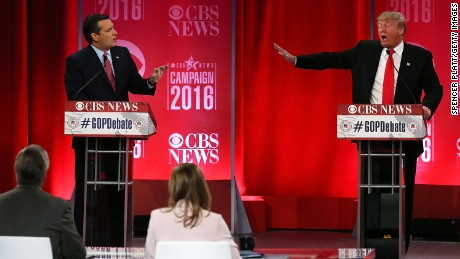 Republican presidential candidates (L-R) Sen. Ted Cruz (R-TX) and Donald Trump participate in a CBS News GOP Debate February 13, 2016 at the Peace Center in Greenville, South Carolina.