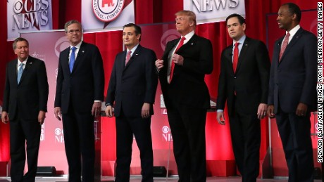 GREENVILLE, SC - FEBRUARY 13:  Republican presidential candidates (L-R) Ohio Governor John Kasich, Jeb Bush, Sen. Ted Cruz (R-TX), Donald Trump, Sen. Marco Rubio (R-FL) and Ben Carson stand on stage during a CBS News GOP Debate February 13, 2016 at the Peace Center in Greenville, South Carolina. Residents of South Carolina will vote for the Republican candidate at the primary on February 20.  (Photo by Spencer Platt/Getty Images)
