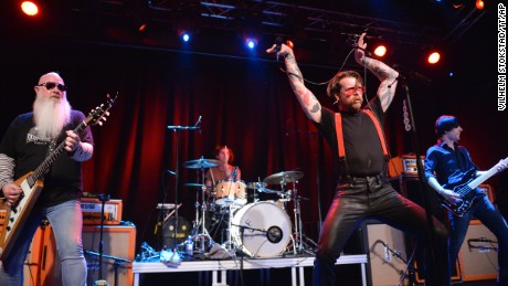 Singer Jesse Hughes of Eagles of Death Metal performs at Debaser Medis in Stockholm, Sweden, Saturday, February 13. The concert is the band's first appearance since the Bataclan terror attack in Paris in November.