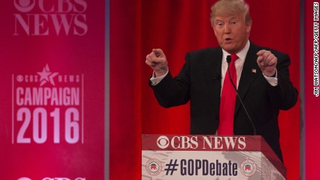 Republican presidential candidate Donald Trump speaks the CBS News Republican Presidential Debate in Greenville, South Carolina, February 13, 2016.  / AFP / JIM WATSON        (Photo credit should read JIM WATSON/AFP/Getty Images)