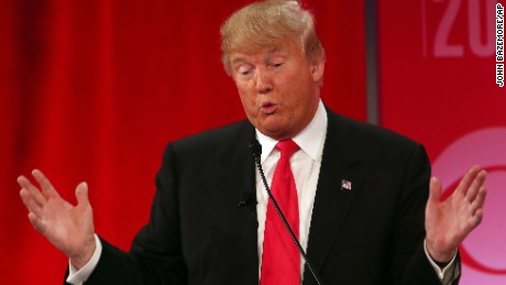 Republican presidential candidate, businessman Donald Trump speaks during the CBS News Republican presidential debate at the Peace Center, Saturday, Feb. 13, 2016, in Greenville, S.C. (AP Photo/John Bazemore)