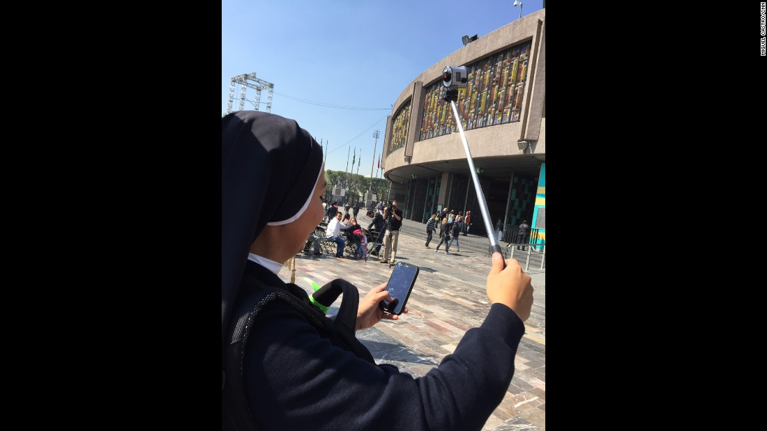 "MEXICO: Sister Cindy from Lima, Peru is filming her visit to Mexico -- following the Pope. She will sing with her band before the mass in Juarez. ""I told my community back home my challenge will be to get a selfie with Pope Francis"", she giggles. Photo by CNN's Miguel Castro <a href=""http://instagram.com/sambassando"" target=""_blank"">@sambassando</a>, February 11."