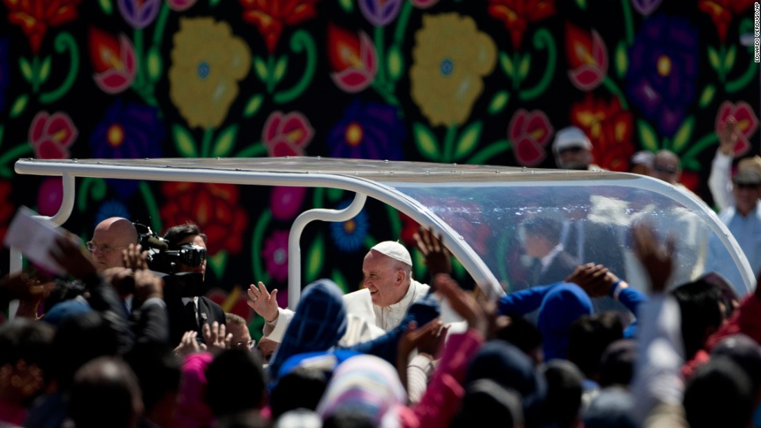 The Pope waves to a crowd in San Cristobal de las Casas, Mexico, on Monday, February 15.