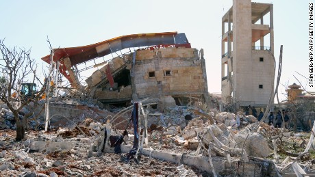 The remains of the hospital supported by Doctors Without Borders in Maarat al-Numan.