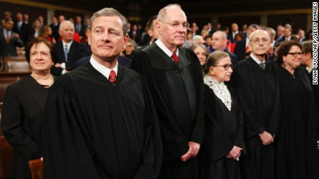 The Supreme Court Justices arrive prior to US President Barack Obama's State of the Union address before a Joint Session of Congress  on Capitol Hill in Washington, DC, January 12, 2016. AFP PHOTO / POOL / EVAN VUCCI / AFP / POOL / Evan Vucci        (Photo credit should read EVAN VUCCI/AFP/Getty Images)