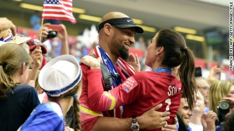 Ex-NFL player Jerramy Stevens congratulates his wife, soccer star Hope Solo, last year.