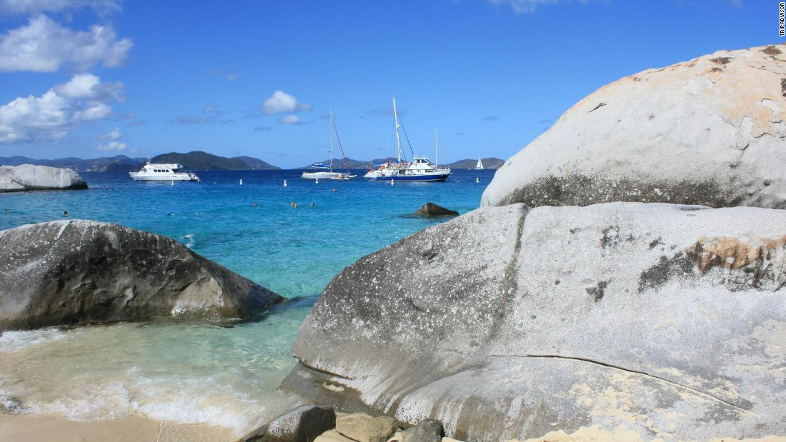 Huge boulders dot the Baths at Virgin Gorda in the British Virgin Islands.