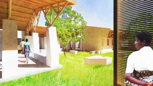 An artists rendering of a maternity waiting village, Malawi