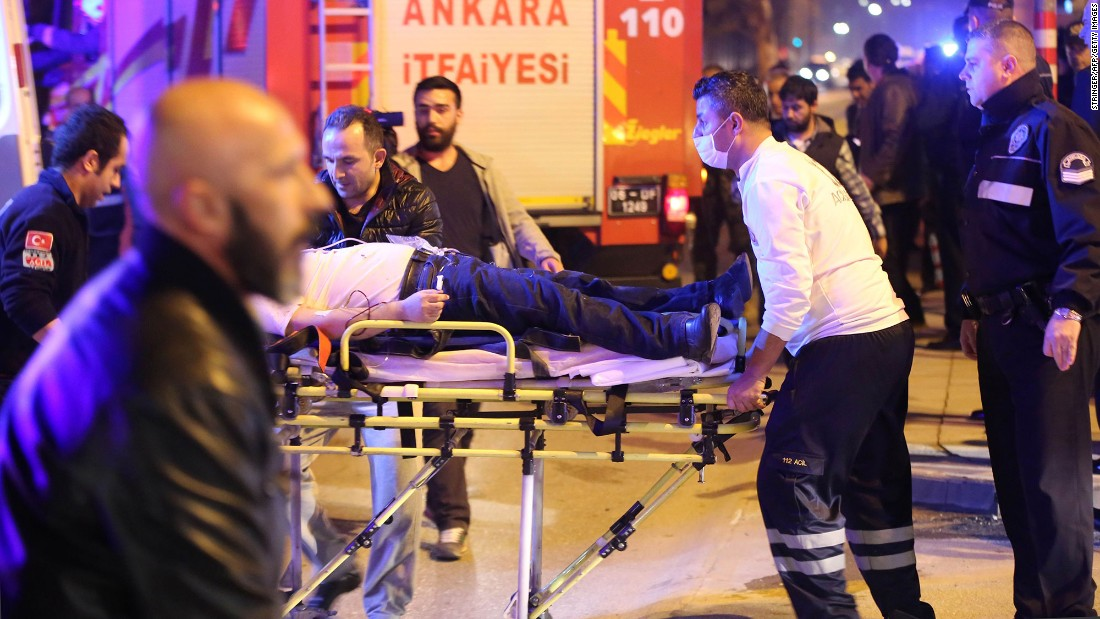 An injured person receives medical treatment on February 17. The cause of the blast wasn't immediately available. But Ankara Gov. Mehmet Kiliclar said it may have been caused by a car bomb, according to Anadolu.