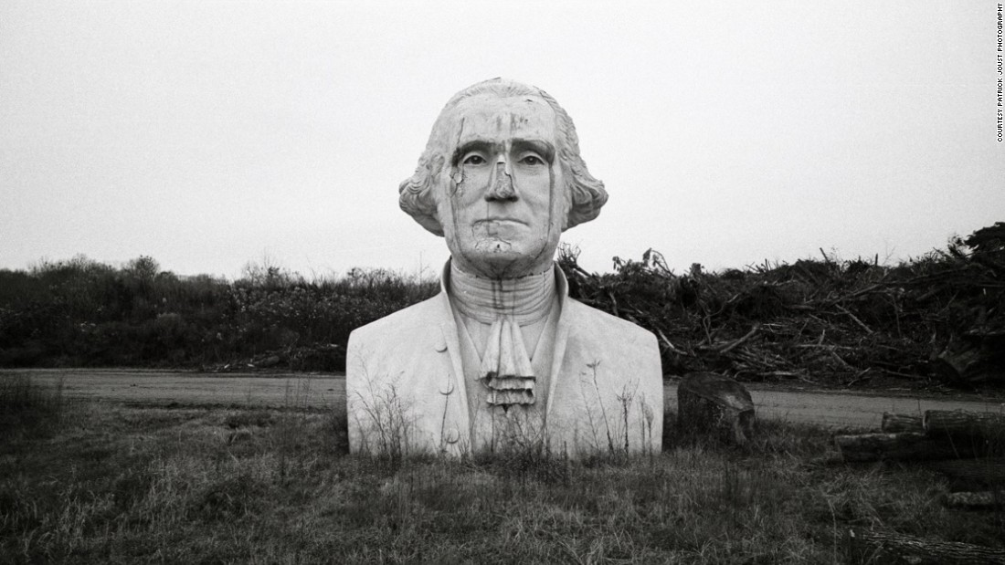 A derelict George Washington is a shadow of his former glory, after the Presidents Park in Virginia closed in 2010.
