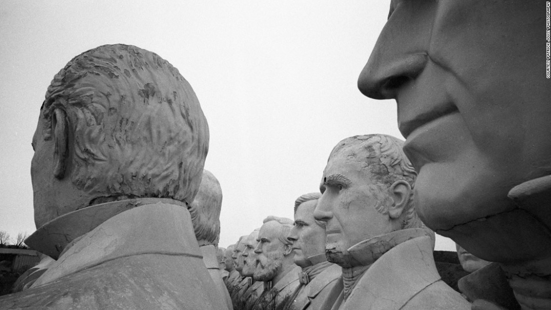 Washington's bust is joined by dozens of other former U.S. presidents who were rescued by concrete businessman Howard Hankins.