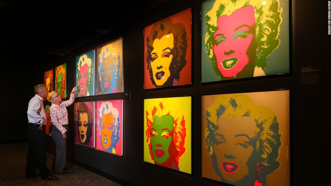 The exhibition contains a series of Andy Warhol's famed pop art prints. Warhol's two abiding fascinations -- death and the cult of celebrity -- came together in Monroe's story.