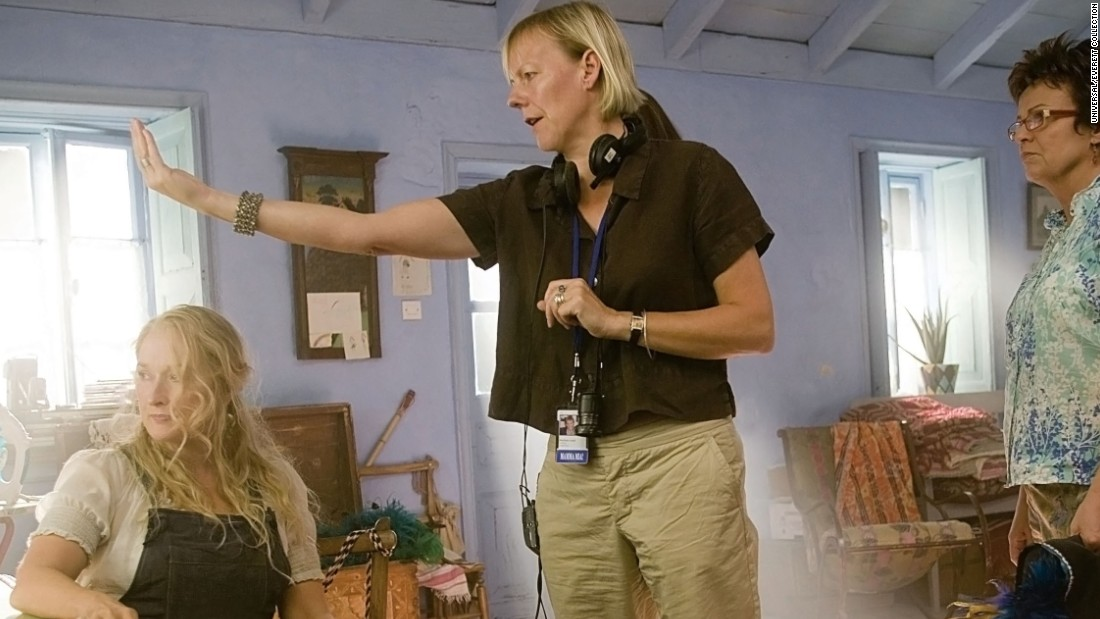 """British director Phyllida Lloyd, center, made a big splash on her first stab at directing a film. """"Mamma Mia!"""" drew $144 million domestically, a rare occurrence for musicals in the world of feature films. Meryl Streep, left, and Julie Walters starred in the film."""