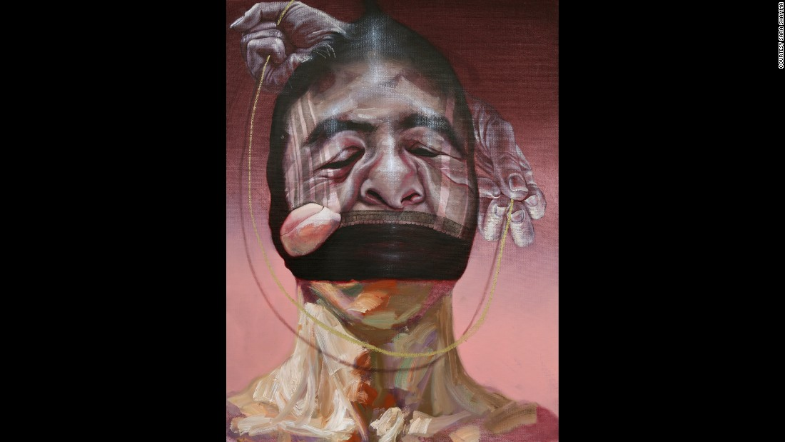 "The oil painting ""Icognito 1"" is one of four paintings depicting the anonymous suffering of many."
