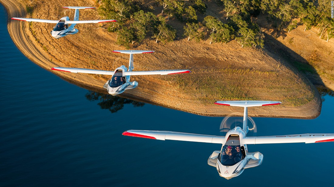 Launched last year, the Icon A5 is a two-seat, foldable seaplane. It's so compact it fits in most car garages and can be towed behind a vehicle for overland transport.