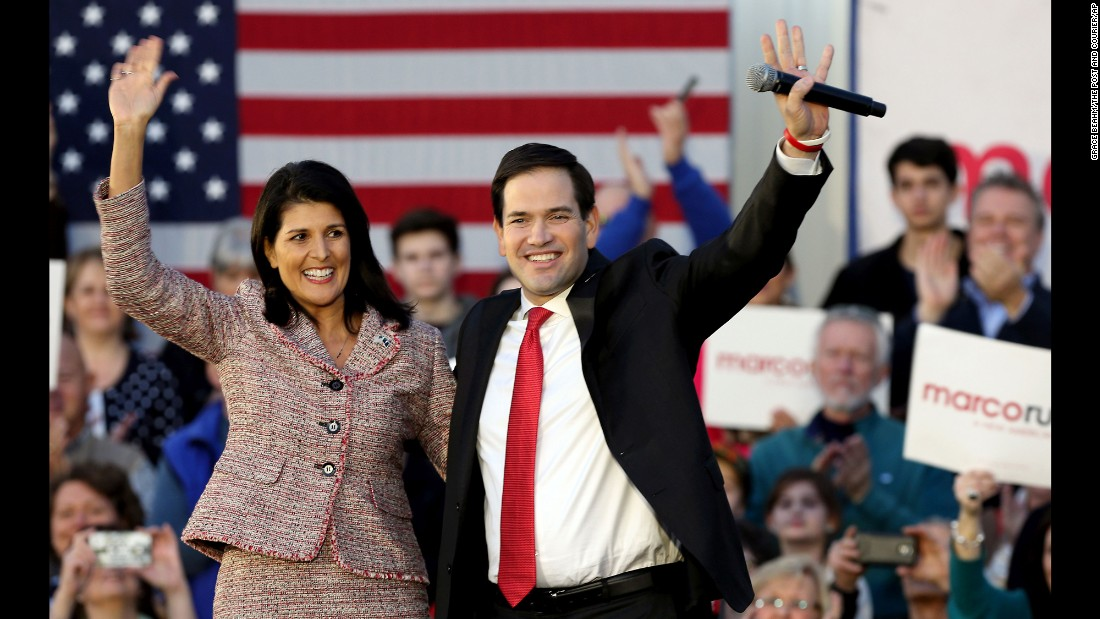 "South Carolina Gov. Nikki Haley campaigns with U.S. Sen. Marco Rubio, <a href=""http://www.cnn.com/2016/02/17/politics/nikki-haley-endorses-marco-rubio/"" target=""_blank"">whom she endorsed</a> Thursday, February 18, in Chapin, South Carolina."