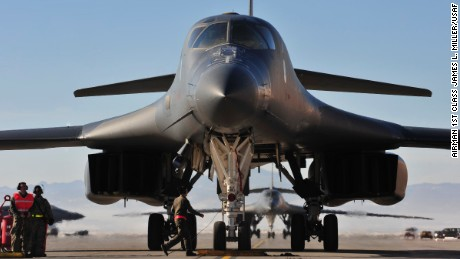 A  B-1 taxis down the runway at Ellsworth Air Force Base, South Dakota, after returning from the Mideast.