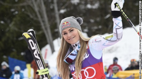 LA THUILE, ITALY - FEBRUARY 20: (FRANCE OUT) Lindsey Vonn of the USA takes 2nd place during the Audi FIS Alpine Ski World Cup Women's Downhill on February 20, 2016 in La Thuile, Italy. (Photo by Alain Grosclaude/Agence Zoom/Getty Images)