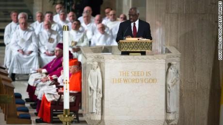 Thomas spoke at Scalia's funer on February 20.