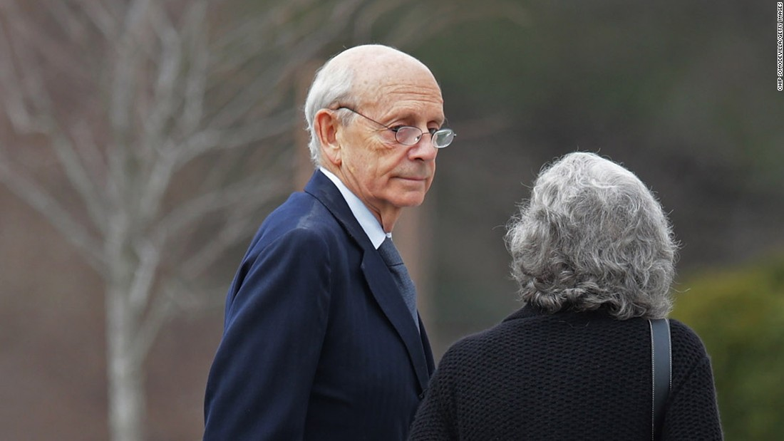 Justice Stephen Breyer and his wife, Joanna Hare, arrive on February 20.