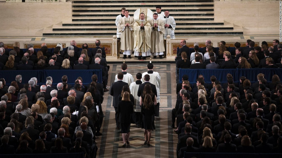 The Rev. Paul Scalia, son of Supreme Court Justice Antonin Scalia, leads the funeral Mass for his father on February 20.