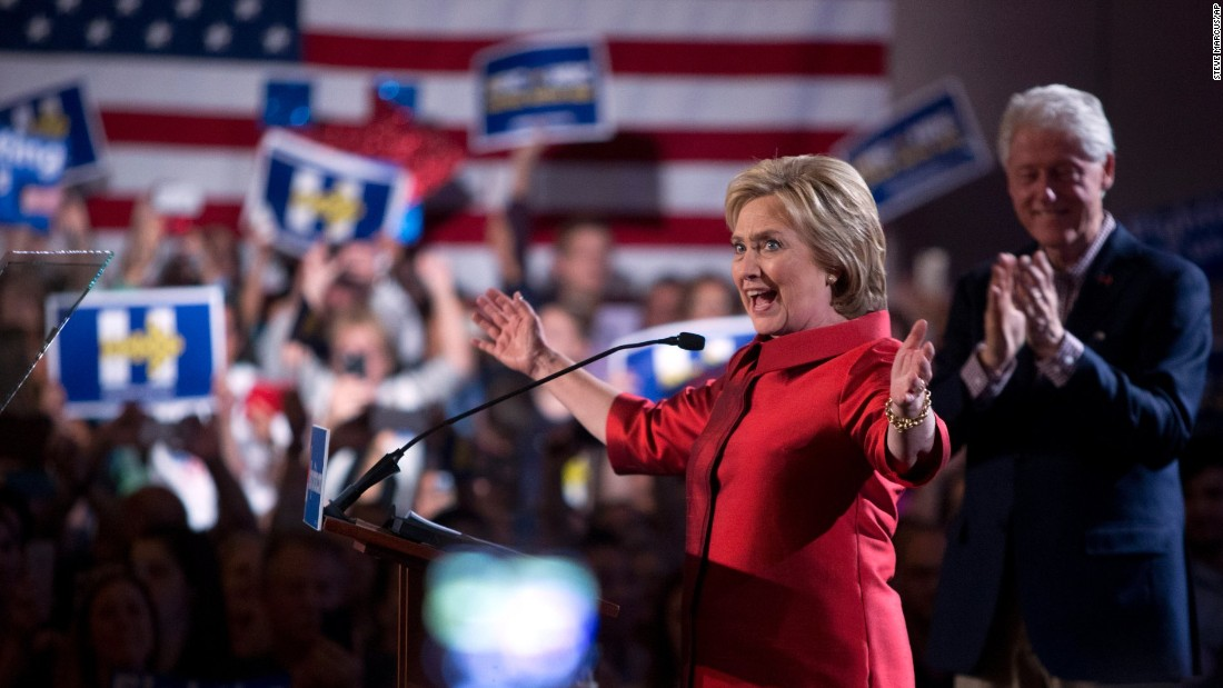 "Democratic presidential candidate Hillary Clinton arrives gives a victory speech at Caesars Palace in Las Vegas on Saturday, February 20, <a href=""http://www.preview.cnn.com/2016/02/20/politics/nevada-caucus-democrats-2016/index.html"" target=""_blank"">after edging out Bernie Sanders in Nevada's Democratic caucuses.</a>"