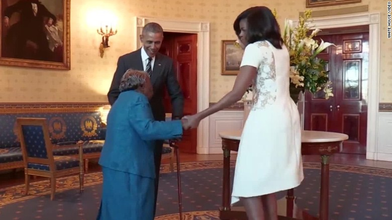 106 year old fulfills dream, dances with the President