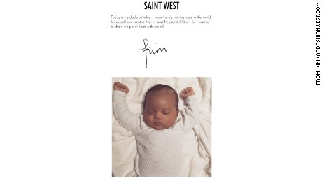 """I wanted to share this pic of Saint with you all,"" Kim Kardashian West said on her website Monday."