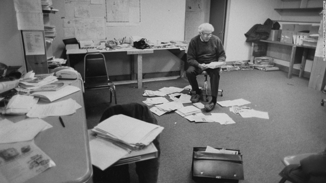 Sanders reads mail at his campaign office in Burlington in 1990. He was running for the U.S. House of Representatives after an unsuccessful bid in 1988.
