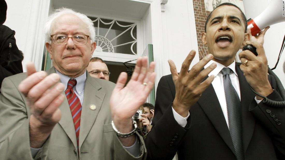 Barack Obama, then a U.S. senator, endorses Sanders' Senate bid at a rally in Burlington in 2006.