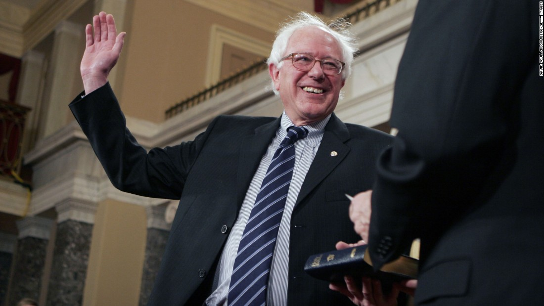 Sanders takes part in a swearing-in ceremony at the U.S. Capitol in January 2007. He won his Senate seat with 65% of the vote.