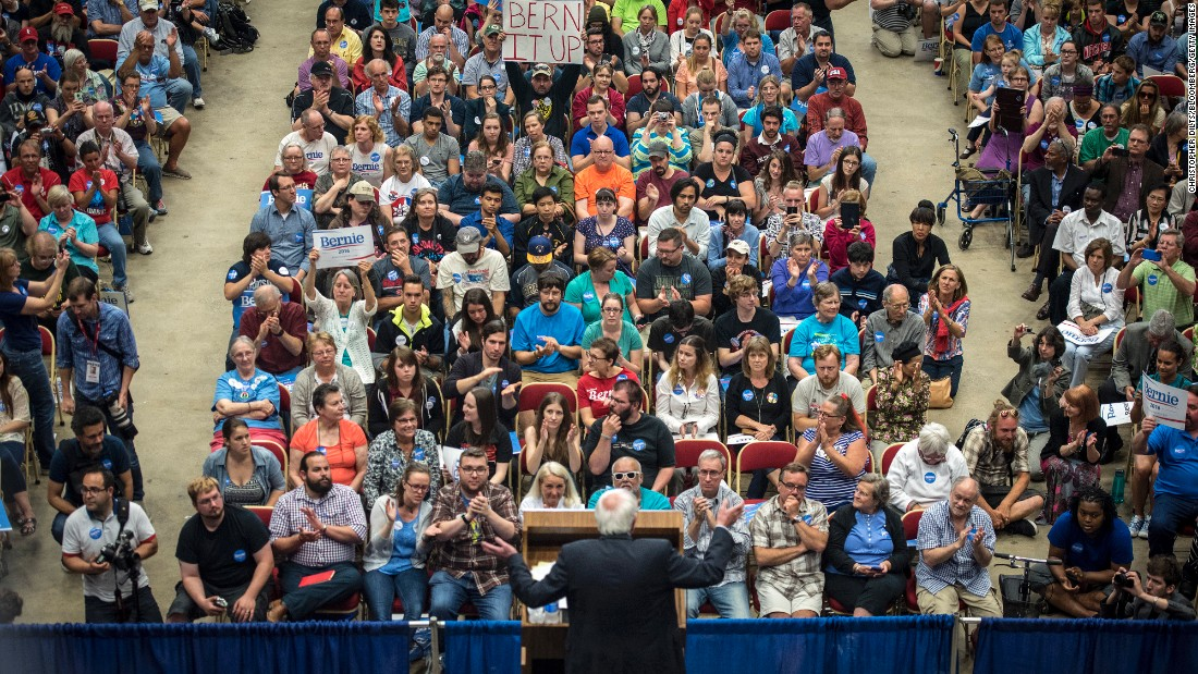 "In July 2015, two months after announcing his run for the presidency, Sanders <a href=""http://www.cnn.com/2015/07/01/politics/bernie-sanders-crowds-wisconsin-2016/index.html"" target=""_blank"">spoke to nearly 10,000 supporters</a> in Madison, Wisconsin. ""Tonight we have made a little bit of history,"" he said. ""You may know that some 25 candidates are running for President of the United States, but tonight we have more people at a meeting for a candidate for President of the United States than any other candidate has."""