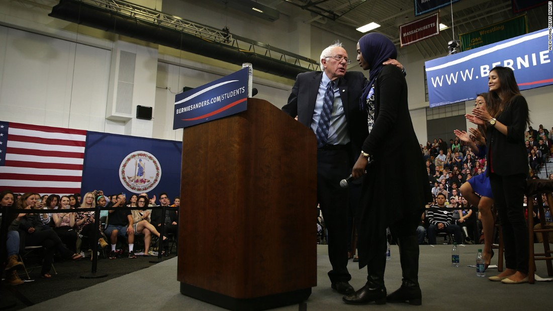 "Sanders embraces Remaz Abdelgader, a Muslim student, during an October 2015 event at George Mason University in Fairfax, Virginia. Asked what he would do about Islamophobia in the United States, Sanders said he was determined to fight racism and ""build a nation in which we all stand together as one people."""