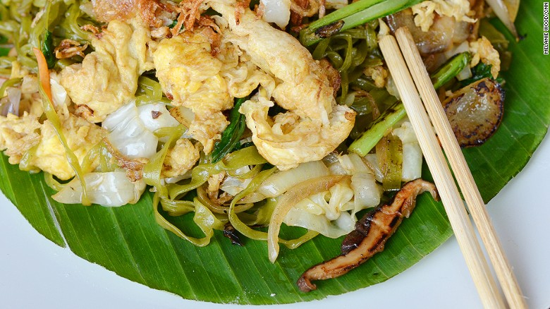 Bakmi goreng is pencil-thin noodles fried with egg, meat and vegetables. Some modern outlets now make noodles from spinach and beets.