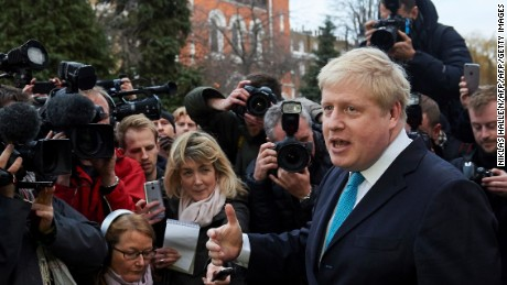 London Mayor Boris Johnson delivers a statement to the media regarding his position on the forthcoming EU referendum outside his home in London on February 21 , 2016 London mayor Boris Johnson on February 21 said he would support a vote for Britain to leave the European Union in a blow for Prime Minister David Cameron ahead of a membership referendum in June.
