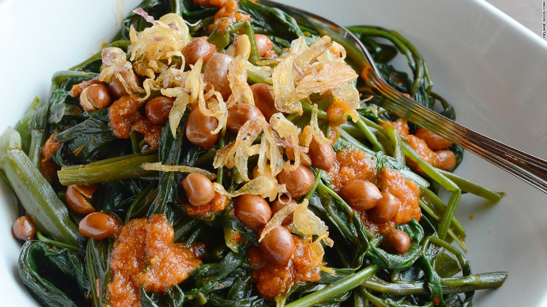 Kangkung, also known as water spinach, is a common ingredient through Asia. Cah kangkung is stir fried kangkung with sweet soybean sauce, garlic, chili and shrimp paste.