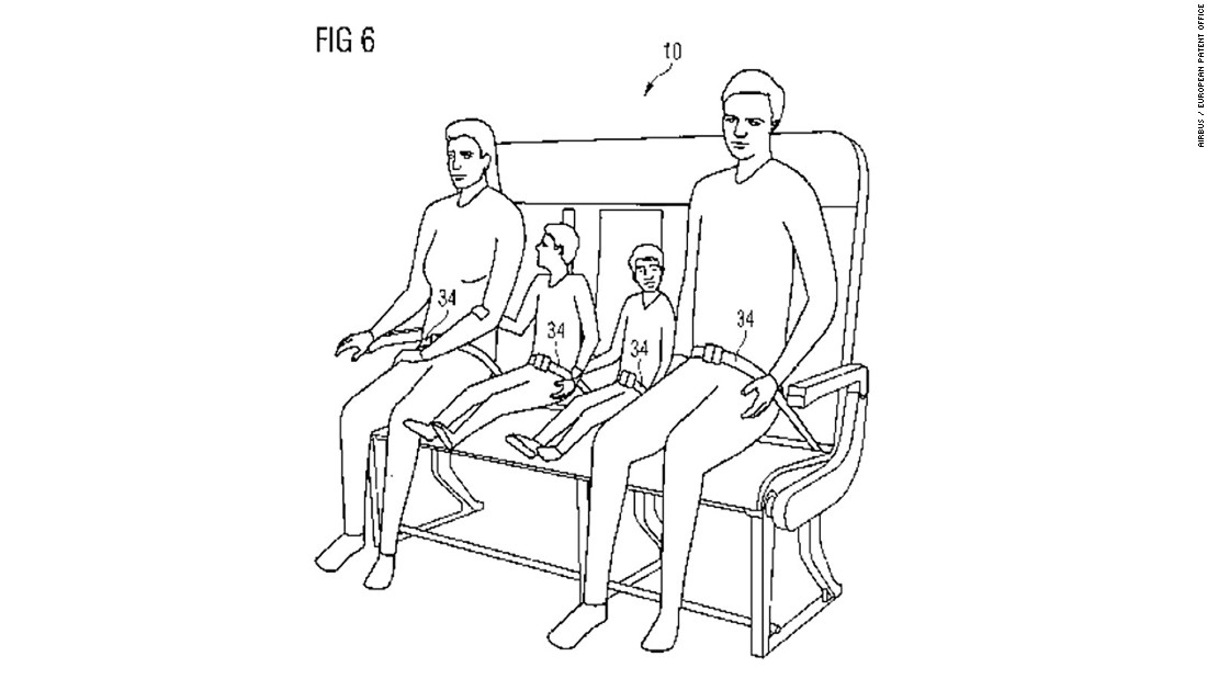 The seating can be adjusted to accommodates families (or miniature adults, as this illustration from the patent seems to suggest).