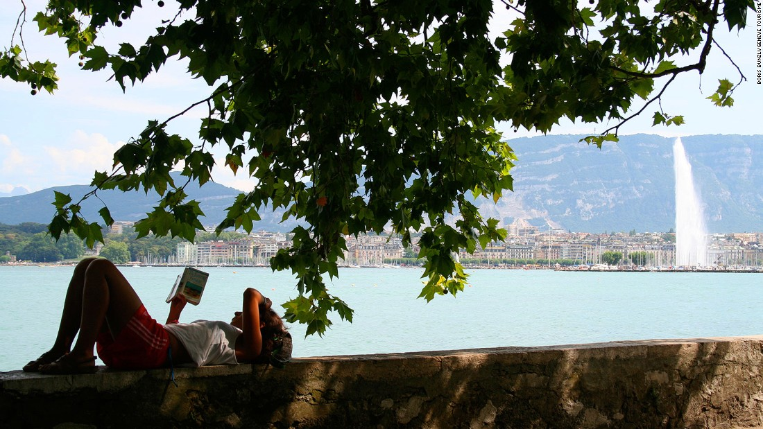 Reclining on a wall overlooking the lake is probably the only thing that doesn't cost a fortune in Geneva, one of the world's most expensive cities. Cost of living doesn't seem to impair quality of living though.
