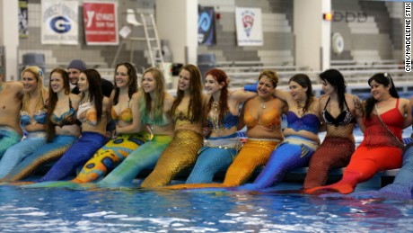 200 mermaids, mermen and children gathered at the Greensboro Aquatic Center in North Carolina for the world's first mer-meet up.