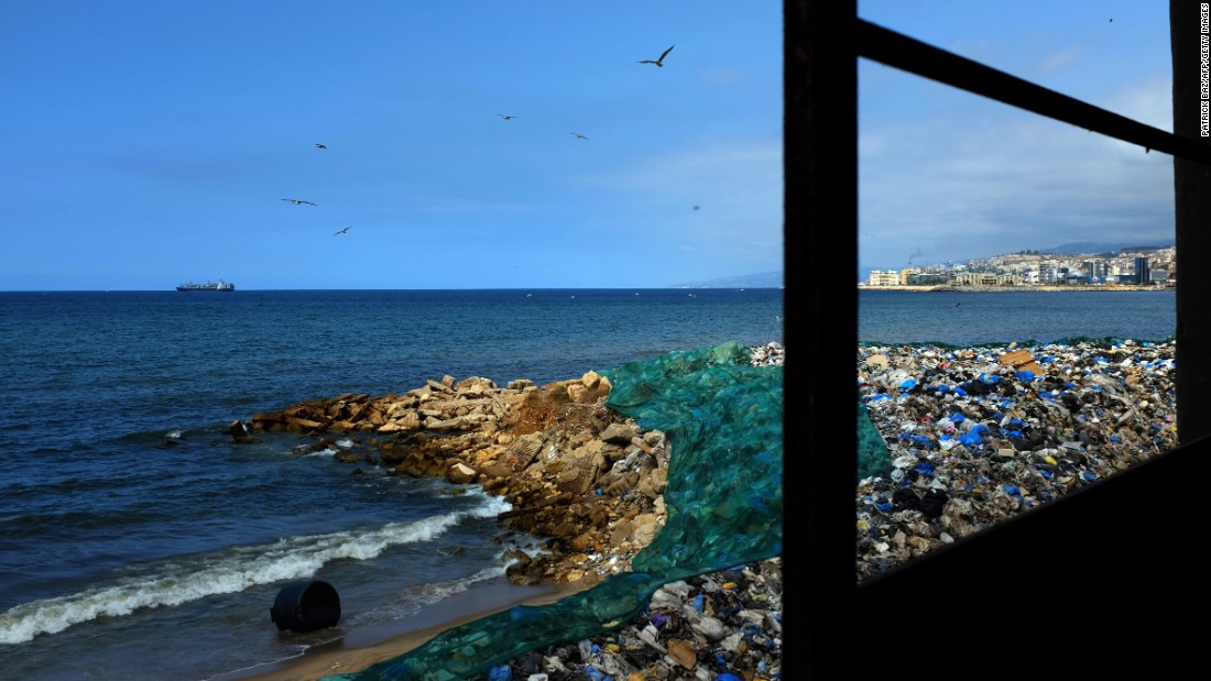 Garbage piles up at a temporary dump on a beach in Zalka, north of Beirut, on September 30.